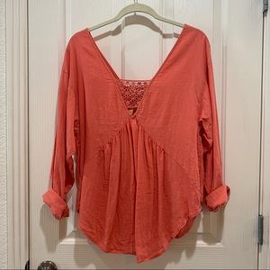 FP Boho Peasant Blouse Linen Top Small Like New